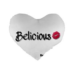 Belicious World Logo Standard 16  Premium Flano Heart Shape Cushions by beliciousworld