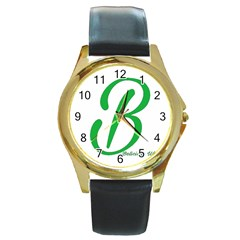 Belicious World  b  In Green Round Gold Metal Watch by beliciousworld