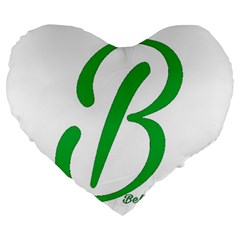 Belicious World  b  In Green Large 19  Premium Flano Heart Shape Cushions by beliciousworld