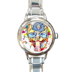 Pit Bulls Are Beautiful Round Italian Charm Watch by ImaginativeReflections