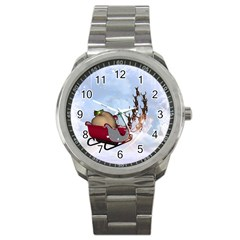 Christmas, Santa Claus With Reindeer Sport Metal Watch by FantasyWorld7