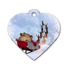 Christmas, Santa Claus With Reindeer Dog Tag Heart (two Sides) by FantasyWorld7