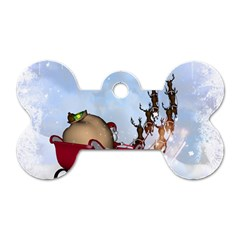 Christmas, Santa Claus With Reindeer Dog Tag Bone (two Sides) by FantasyWorld7