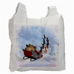 Christmas, Santa Claus With Reindeer Recycle Bag (two Side)  by FantasyWorld7