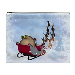 Christmas, Santa Claus With Reindeer Cosmetic Bag (xl) by FantasyWorld7