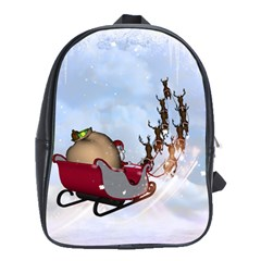 Christmas, Santa Claus With Reindeer School Bag (large) by FantasyWorld7