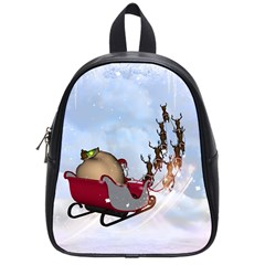 Christmas, Santa Claus With Reindeer School Bag (small) by FantasyWorld7