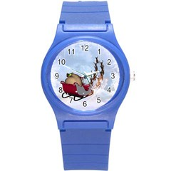 Christmas, Santa Claus With Reindeer Round Plastic Sport Watch (s) by FantasyWorld7