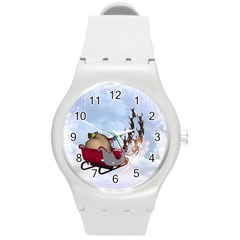 Christmas, Santa Claus With Reindeer Round Plastic Sport Watch (m) by FantasyWorld7