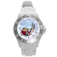 Christmas, Santa Claus With Reindeer Round Plastic Sport Watch (l) by FantasyWorld7