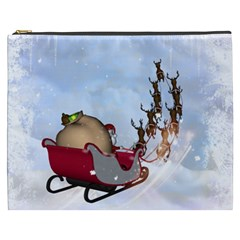 Christmas, Santa Claus With Reindeer Cosmetic Bag (xxxl)  by FantasyWorld7