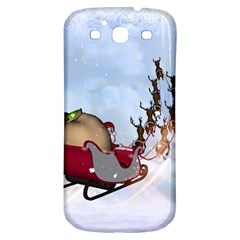 Christmas, Santa Claus With Reindeer Samsung Galaxy S3 S Iii Classic Hardshell Back Case by FantasyWorld7