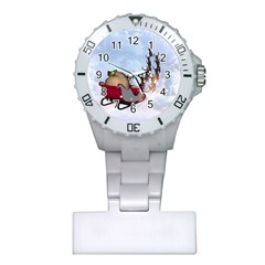 Christmas, Santa Claus With Reindeer Plastic Nurses Watch by FantasyWorld7
