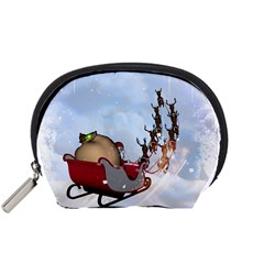 Christmas, Santa Claus With Reindeer Accessory Pouches (small)  by FantasyWorld7
