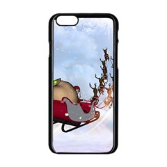 Christmas, Santa Claus With Reindeer Apple Iphone 6/6s Black Enamel Case by FantasyWorld7