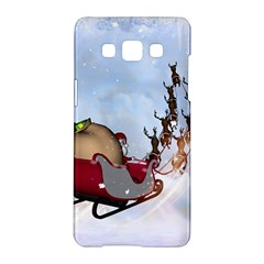 Christmas, Santa Claus With Reindeer Samsung Galaxy A5 Hardshell Case  by FantasyWorld7