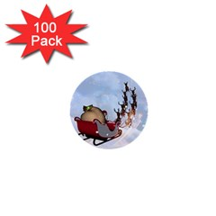 Christmas, Santa Claus With Reindeer 1  Mini Buttons (100 Pack)  by FantasyWorld7