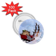 Christmas, Santa Claus With Reindeer 1 75  Buttons (100 Pack)  by FantasyWorld7