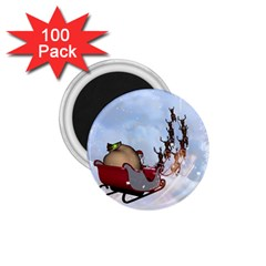 Christmas, Santa Claus With Reindeer 1 75  Magnets (100 Pack)  by FantasyWorld7