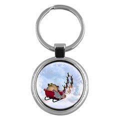 Christmas, Santa Claus With Reindeer Key Chains (round)  by FantasyWorld7