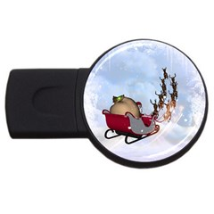 Christmas, Santa Claus With Reindeer Usb Flash Drive Round (2 Gb) by FantasyWorld7