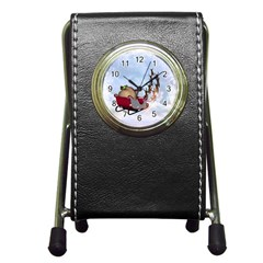 Christmas, Santa Claus With Reindeer Pen Holder Desk Clocks by FantasyWorld7