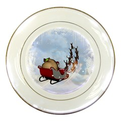 Christmas, Santa Claus With Reindeer Porcelain Plates by FantasyWorld7
