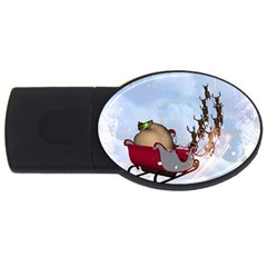 Christmas, Santa Claus With Reindeer Usb Flash Drive Oval (4 Gb) by FantasyWorld7