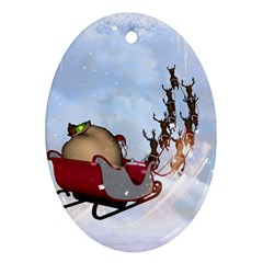 Christmas, Santa Claus With Reindeer Oval Ornament (two Sides) by FantasyWorld7