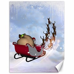 Christmas, Santa Claus With Reindeer Canvas 18  X 24   by FantasyWorld7