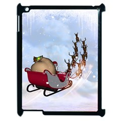 Christmas, Santa Claus With Reindeer Apple Ipad 2 Case (black) by FantasyWorld7