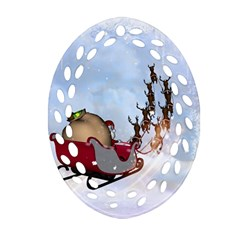 Christmas, Santa Claus With Reindeer Ornament (oval Filigree) by FantasyWorld7