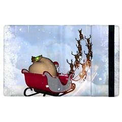 Christmas, Santa Claus With Reindeer Apple Ipad 3/4 Flip Case by FantasyWorld7