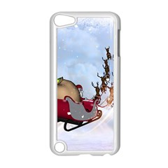 Christmas, Santa Claus With Reindeer Apple Ipod Touch 5 Case (white) by FantasyWorld7