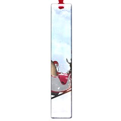 Christmas, Santa Claus With Reindeer Large Book Marks by FantasyWorld7