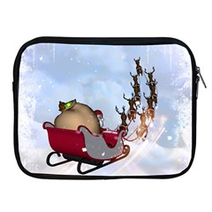 Christmas, Santa Claus With Reindeer Apple Ipad 2/3/4 Zipper Cases by FantasyWorld7
