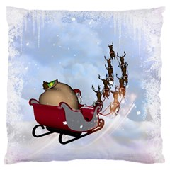 Christmas, Santa Claus With Reindeer Large Flano Cushion Case (two Sides) by FantasyWorld7