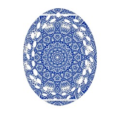 Blue Mandala Art Pattern Ornament (oval Filigree) by paulaoliveiradesign