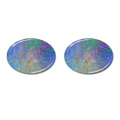 Colorful Pattern Blue And Purple Colormix Cufflinks (oval) by paulaoliveiradesign