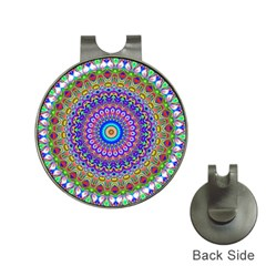 Colorful Purple Green Mandala Pattern Hat Clips With Golf Markers by paulaoliveiradesign