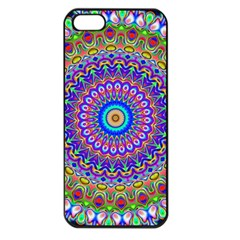 Colorful Purple Green Mandala Pattern Apple Iphone 5 Seamless Case (black) by paulaoliveiradesign