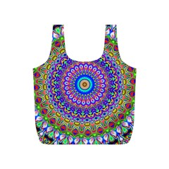 Colorful Purple Green Mandala Pattern Full Print Recycle Bags (s)  by paulaoliveiradesign