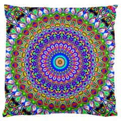 Colorful Purple Green Mandala Pattern Large Flano Cushion Case (two Sides) by paulaoliveiradesign