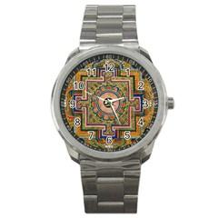 Asian Art Mandala Colorful Tibet Pattern Sport Metal Watch by paulaoliveiradesign