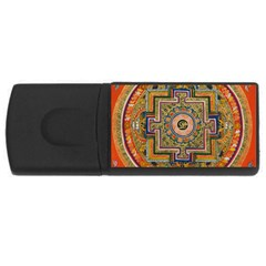 Asian Art Mandala Colorful Tibet Pattern Rectangular Usb Flash Drive by paulaoliveiradesign
