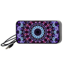 Kaleidoscope Mandala Purple Pattern Art Portable Speaker (black) by paulaoliveiradesign