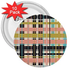 Plaid Pattern 3  Buttons (10 Pack)  by linceazul