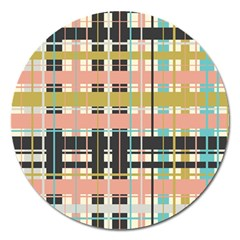 Plaid Pattern Magnet 5  (round) by linceazul