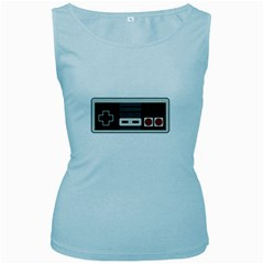 Video Game Controller 80s Women s Baby Blue Tank Top