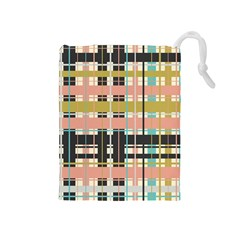 Plaid Pattern Drawstring Pouches (medium)  by linceazul